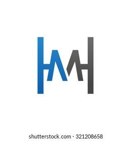 MH HM initial company H square shape logo blue