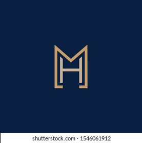 MH or HM letter designs for logo and icons