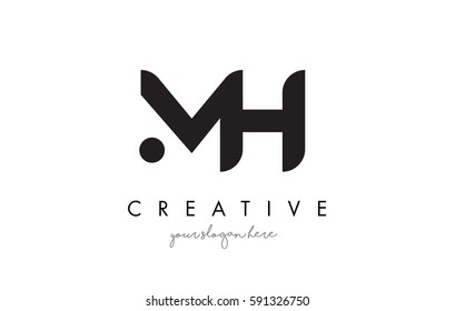 MH Letter Logo Design with Creative Modern Trendy Typography and Black Colors.