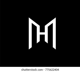 MH Logo design. M and H in modern flat style. Vector graphic element for your company logotype. Male sign for business card. Black background