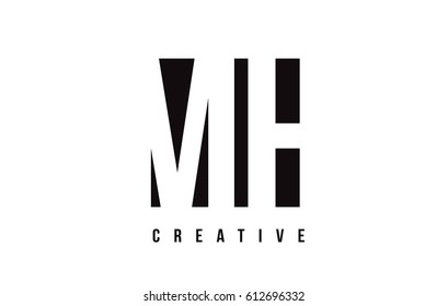 MH M H White Letter Logo Design with Black Square Vector Illustration Template.