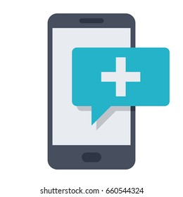 mHealth concept with smartphone and message, vector illustration in flat style