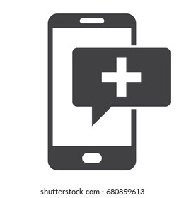 mHealth concept with smartphone and message, vector silhouette