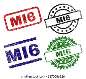 MI6 seal prints with corroded surface. Black, green,red,blue vector rubber prints of MI6 tag with corroded texture. Rubber seals with round, rectangle, medal shapes.