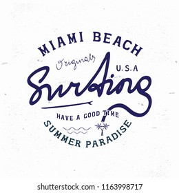 MIAMI BEACH BADGE. Design fashion apparel on light background. T shirt graphic vintage vector illustration label logo template.