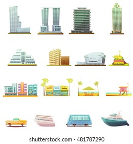 Miami beach buildings city landscape tourists attractions and transportation elements retro cartoon icons collection isolated vector illustration