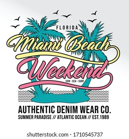 Miami beach, florida, summer paradise, atlantic ocean, typography graphic design, for t-shirt prints, vector illustration