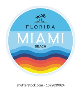 Miami beach Florida tee print with palm tree. T-shirt design, graphics, stamp, label, typography