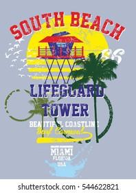 miami beach graphic design vector art