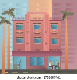 Miami beach house, hotel on Ocean Drive in Florida, USA. Handmade drawing vector stock illustration hotel, palms, two drinking guys, woman with glass of wine. Art deco style. EPS10