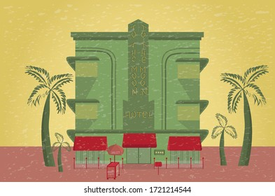 Miami beach house, hotel with valet parking on Ocean Drive in Florida, USA. Handmade drawing vector stock illustration hotel, palms, trolley, umbrella. Art deco style. EPS10