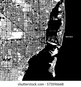 Miami and Miami Beach Vector Map, Artprint. Black Landmass, White Water and Roads.