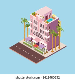 Miami building in isometry, palms and hotel on the beach