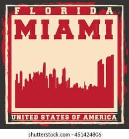 Miami City concept. Logo, Label, T-shirt design. Creative poster design.