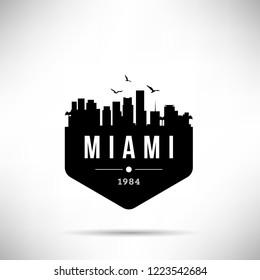 Miami City Modern Skyline Vector Template