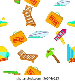 Miami city pattern. Cartoon illustration of Miami city vector pattern for web