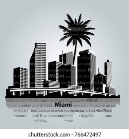 Miami. City skyline vector illustration