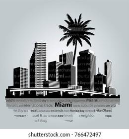 Miami. City skyline vector illustration