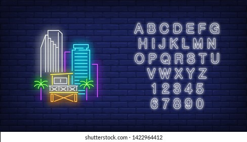 Miami city skyscrapers and lifeguard station neon sign. Beach, tourism, travel design. Night bright neon sign, colorful billboard, light banner. Vector illustration in neon style.