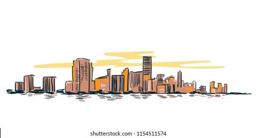 Miami city usa vector sketch landscape line illustration skyline