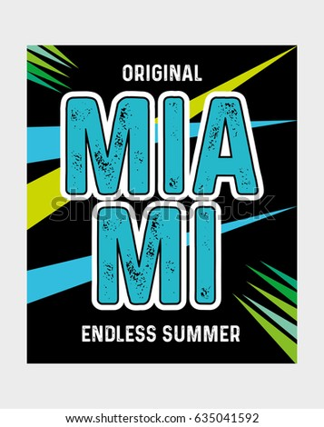 b2f423900c0 Miami Endless Summertshirt Print Poster Vector Stock Vector (Royalty ...