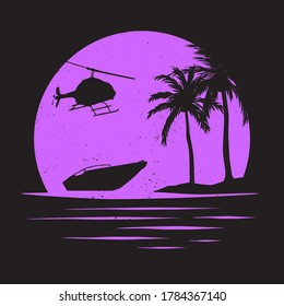 Miami Florida Beach T-shirt Print Graphic