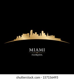 Miami Florida city skyline silhouette. Vector illustration