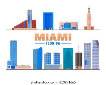 Miami Florida landmarks in white background. Vector Illustration. Business travel and tourism concept with modern buildings. Image for banner or web site.