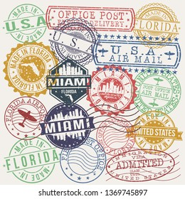 Miami Florida Set of Stamps. Travel Stamp. Made In Product. Design Seals Old Style Insignia.