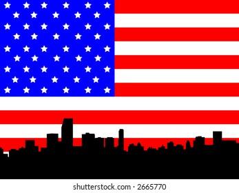 Miami Florida Skyline against American flag illustration