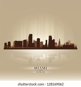 Miami, Florida skyline city silhouette