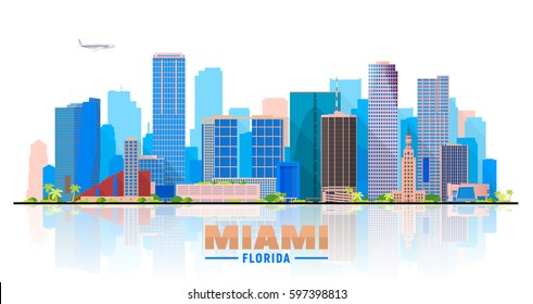 Miami Florida skyline with panorama in white background. Vector Illustration. Business travel and tourism concept with modern buildings. Image for banner or web site.