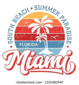 Miami Florida / South Beach - Tee Design For Printing