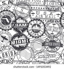 Miami Florida Stamps. City Stamp Vector Art. Postal Passport Travel. Design Set Pattern.