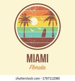 Miami Florida Tshirt Vector Graphic Retro 80's