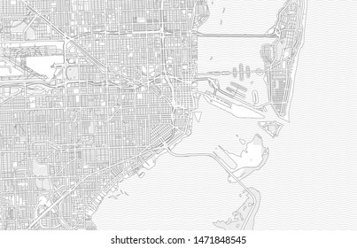 Miami, Florida, USA, bright outlined vector map with bigger and minor roads and steets created for infographic backgrounds.