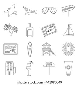 Miami icons set in outline style isolated on white background