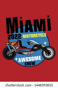 miami motorcycle awesome crew,t-shirt design fashion vector illustration