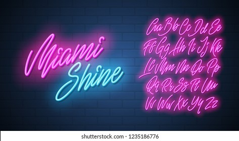 Miami shine neon script alphabet. Vector font.