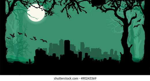 Miami Silhouette Skyline with scary forest