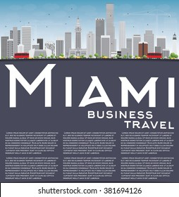 Miami Skyline with Gray Buildings, Blue Sky and Copy Space. Vector Illustration. Business Travel and Tourism Concept with Modern Buildings. Image for Presentation Banner Placard and Web Site.