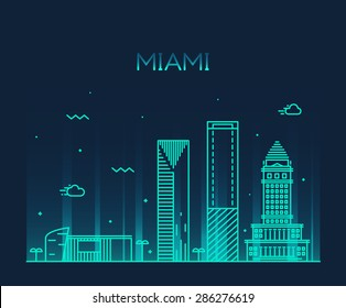 Miami skyline at night, detailed silhouette. Trendy vector illustration, linear style.
