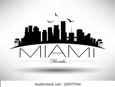 Miami Skyline with Typography Design