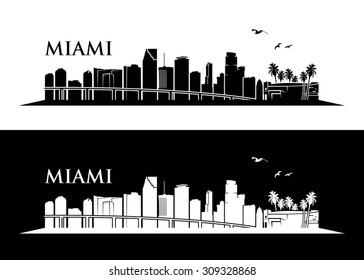 Miami skyline - vector illustration