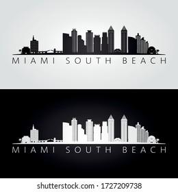 Miami South Beach, Florida skyline and landmarks silhouette, black and white design, vector illustration.