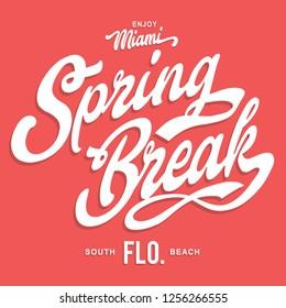 Miami spring break typography, tee shirt graphics, vectors