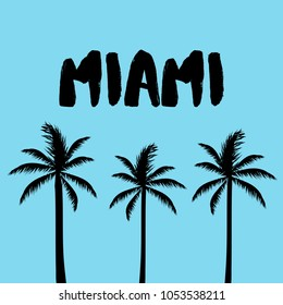 """Miami"" Text, Abstract Palm Trees Silhouette"