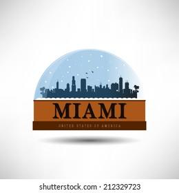 Miami, United States of America city skyline silhouette in snow globe. Vector design.