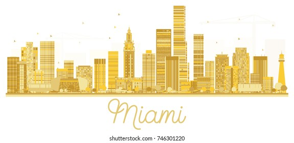 Miami USA City skyline golden silhouette. Vector illustration. Simple flat concept for tourism presentation, banner, placard or web site. Business travel concept. Cityscape with landmarks.