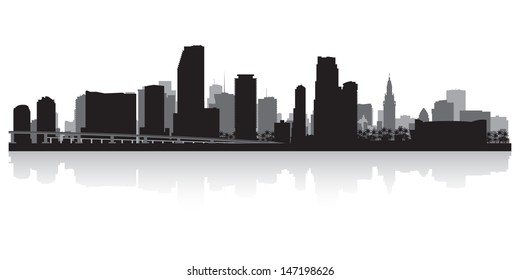 Miami USA city skyline silhouette vector illustration